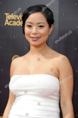 Michelle Ang arrives at night two of the Creative Arts Emmy Awards at the Microsoft Theater, in Los Angeles