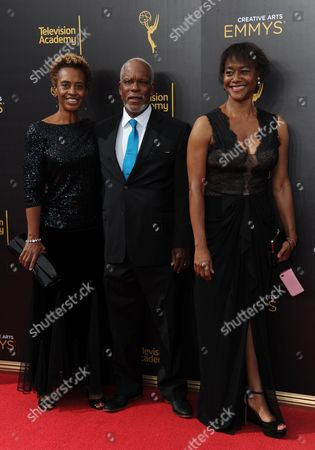 Kathleen Cleaver, from left, Stanley Nelson, and Laurens Grant arrive at night two of the Creative Arts Emmy Awards at the Microsoft Theater, in Los Angeles