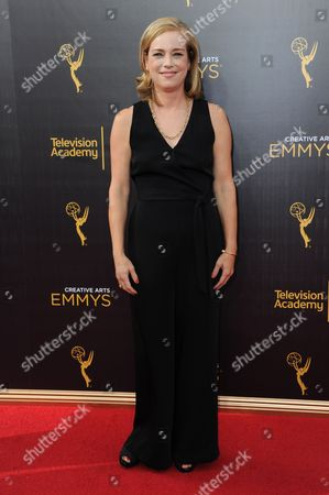Stock Picture of Zandy Hartig arrives at night two of the Creative Arts Emmy Awards at the Microsoft Theater, in Los Angeles