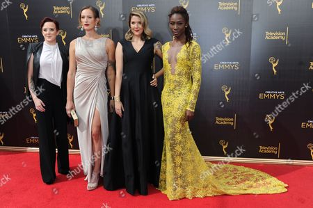 Stock Image of Kate Fisher, from left, Jen Richards, Laura Zak, and Angelica Ross arrives at night two of the Creative Arts Emmy Awards at the Microsoft Theater, in Los Angeles