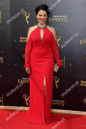 Stock Picture of Kathleen Gati arrives at night two of the Creative Arts Emmy Awards at the Microsoft Theater, in Los Angeles