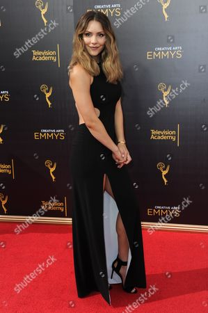 Katherine McPhee arrives at night two of the Creative Arts Emmy Awards at the Microsoft Theater, in Los Angeles