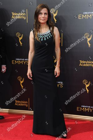 Lati Grobman arrives at night two of the Creative Arts Emmy Awards at the Microsoft Theater, in Los Angeles