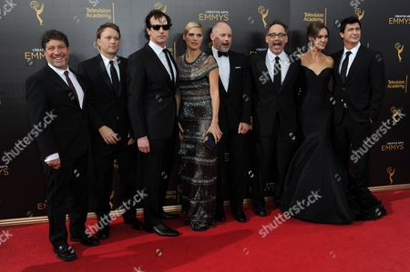 Stock Image of Jonathan Stern, from left, Krister Johnson, Rob Huebel, Lake Bell, Rob Corddry, David Wain, Erinn Hayes, and Ken Morino arrive at night two of the Creative Arts Emmy Awards at the Microsoft Theater, in Los Angeles