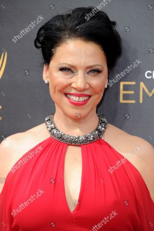 Kathleen Gati arrives at night two of the Creative Arts Emmy Awards at the Microsoft Theater, in Los Angeles