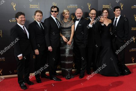 Jonathan Stern, from left, Krister Johnson, Rob Huebel, Lake Bell, Rob Corddry, David Wain, Erinn Hayes, and Ken Morino arrive at night two of the Creative Arts Emmy Awards at the Microsoft Theater, in Los Angeles