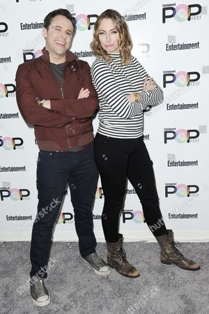 Brian Safi, left, and Erin Gibson attend the 2016 Entertainment Weekly's Popfest, in Los Angeles