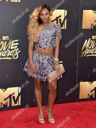 Egypt Criss arrives at the MTV Movie Awards at Warner Bros. Studios, in Burbank, Calif