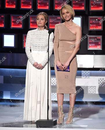 Maggie Lawson, left, and Amber Valetta present the award for favorite premium cable tv show at the People's Choice Awards at the Microsoft Theater, in Los Angeles