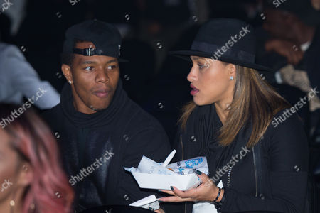 Football player Ray Rice, left, and his wife Janay Rice are seen in the audience at Power 105.1's Powerhouse 2016 at Barclays Center, in Brooklyn, New York