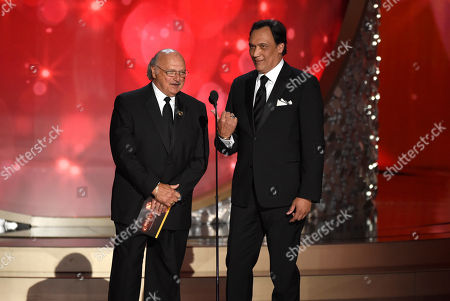 Dennis Franz, left, and Jimmy Smits presents an award at the 68th Primetime Emmy Awards, at the Microsoft Theater in Los Angeles