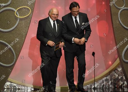 Dennis Franz, left, and Jimmy Smits present the award for outstanding drama series at the 68th Primetime Emmy Awards, at the Microsoft Theater in Los Angeles