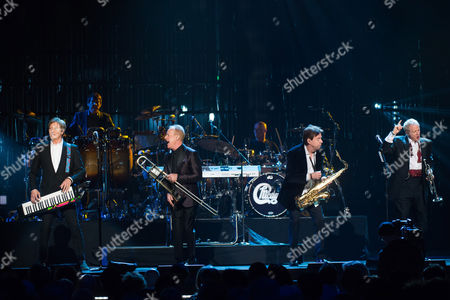 Robert Lamm, from left, James Pankow, Walter Parazaider and Lee Loughnane from Chicago perform at the 31st Annual Rock and Roll Hall of Fame Induction Ceremony at the Barclays Center, in New York