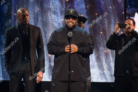 Inductees Dr. Dre, from left, Ice Cube, MC Ren and DJ Yella from N.W.A appear at the 31st Annual Rock and Roll Hall of Fame Induction Ceremony at the Barclays Center, in New York