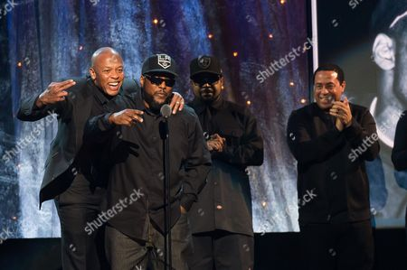 Inductees Dr. Dre, from left, MC Ren, Ice Cube and DJ Yella from N.W.A appear at the 31st Annual Rock and Roll Hall of Fame Induction Ceremony at the Barclays Center, in New York