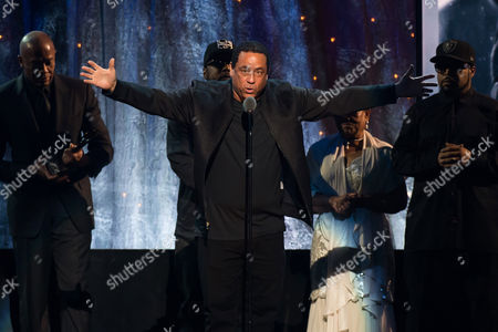 Inductee DJ Yella from N.W.A appears at the 31st Annual Rock and Roll Hall of Fame Induction Ceremony at the Barclays Center, in New York