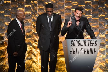 Leon A. Huff, left, Kenneth Gamble and Lionel Richie attend the 47th Annual Songwriters Hall of Fame Induction Ceremony and Awards Gala at the Marriott Marquis Hotel, in New York