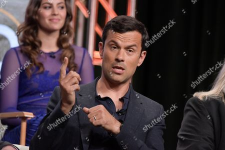 "Dimitri Doganis participates in the ""Harley and the Davidsons"" panel during the Discovery Channel Television Critics Association summer press tour, in Beverly Hills, Calif"
