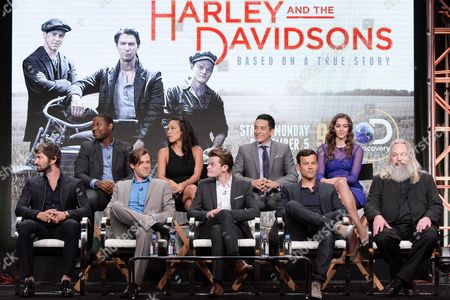 "Michiel Huisman, from left, Stephen Rider, Bug Hall, Jessica Camacho, Robert Aramayo, Gabriel Luna, Dimitri Doganis, Annie Read and Alex Wheeler participate in the ""Harley and the Davidsons"" panel during the Discovery Channel Television Critics Association summer press tour on Monday, Aug.1, 2016, in Beverly Hills, Calif"