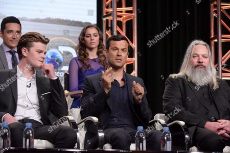 "Gabriel Luna, from left, Robert Aramayo, Annie Read, Dimitri Doganis, and Alex Wheeler participate in the ""Harley and the Davidsons"" panel during the Discovery Channel Television Critics Association summer press tour, in Beverly Hills, Calif"