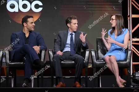 "Daniel Sunjata, from left, and executive producers/co-creators Josh Berman and Allie Hagan participate in the ""Notorious"" panel during the Disney/ABC Television Critics Association summer press tour, in Beverly Hills, Calif"