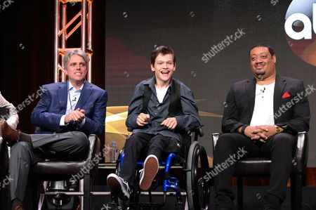 "Writer/producer Scott Silveri, from left, Micah Fowler and Cedric Yarbrough participate in the ""Speechless"" panel during the Disney/ABC Television Critics Association summer press tour, in Beverly Hills, Calif"