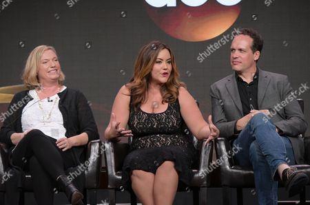 """Creator Sarah Dunn, from left, Katy Mixon and Diedrich Bader participate in the """"American Housewife"""" panel during the Disney/ABC Television Critics Association summer press tour, in Beverly Hills, Calif"""