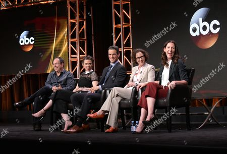 "Executive producer Mark Gordon, from left, Hayley Atwell, Eddie Cahill, writer Liz Friedman and writer/creator/director Liz Friedlander participate in the ""Conviction"" panel during the Disney/ABC Television Critics Association summer press tour, in Beverly Hills, Calif"