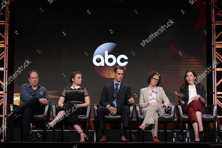 """Stock Picture of Executive producer Mark Gordon, from left, Hayley Atwell, Eddie Cahill, writer Liz Friedman and writer/creator/director Liz Friedlander participate in the """"Conviction"""" panel during the Disney/ABC Television Critics Association summer press tour, in Beverly Hills, Calif"""