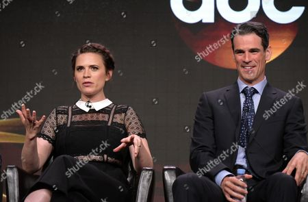 "Stock Picture of Hayley Atwell, left, and Eddie Cahill participate in the ""Conviction"" panel during the Disney/ABC Television Critics Association summer press tour, in Beverly Hills, Calif"