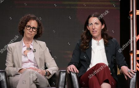 """Stock Image of Writer Liz Friedman, left, and writer/creator/director Liz Friedlander participate in the """"Conviction"""" panel during the Disney/ABC Television Critics Association summer press tour, in Beverly Hills, Calif"""