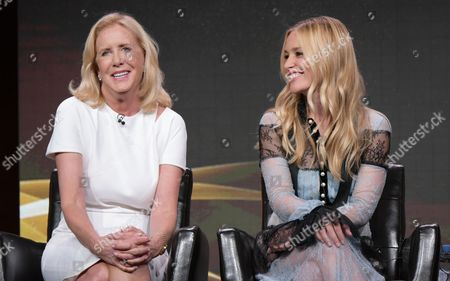 "Executive producer Wendy Walker, left, and Piper Perabo participate in the ""Notorious"" panel during the Disney/ABC Television Critics Association summer press tour, in Beverly Hills, Calif"