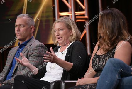 """Executive producer Aaron Kaplan, from left, creator Sarah Dunn and Katy Mixon participate in the """"American Housewife"""" panel during the Disney/ABC Television Critics Association summer press tour, in Beverly Hills, Calif"""