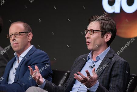 """Executive producer Rick Wiener, left, and executive producer Kenny Schwartz participate in the """"American Housewife"""" panel during the Disney/ABC Television Critics Association summer press tour, in Beverly Hills, Calif"""