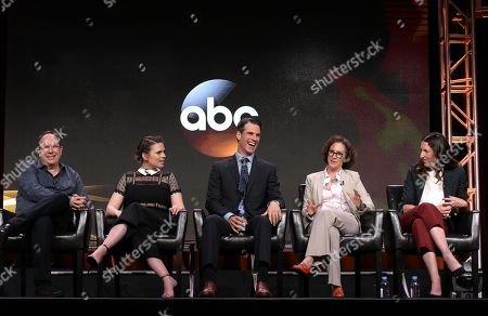 """Stock Photo of Executive producer Mark Gordon, from left, Hayley Atwell, Eddie Cahill, writer Liz Friedman and writer/creator/director Liz Friedlander participate in the """"Conviction"""" panel during the Disney/ABC Television Critics Association summer press tour, in Beverly Hills, Calif"""
