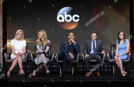 "Executive producer Wendy Walker, from left, Piper Perabo, Daniel Sunjata, and executive producers/co-creators Josh Berman and Allie Hagan participate in the ""Notorious"" panel during the Disney/ABC Television Critics Association summer press tour, in Beverly Hills, Calif"