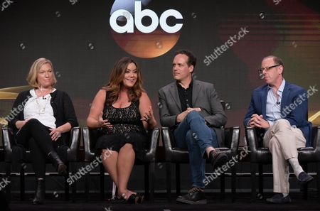 "Creator Sarah Dunn, from left, Katy Mixon, Diedrich Bader and executive producer Rick Wiener participate in the ""American Housewife"" panel during the Disney/ABC Television Critics Association summer press tour, in Beverly Hills, Calif"