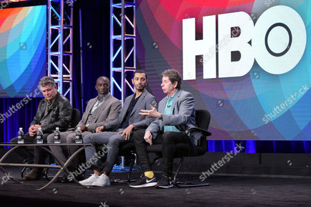 "Steven Zaillian, from left, Michael Kenneth Williams, Riz Ahmed and Richard Price participate in ""The Night OF"" panel during the HBO Television Critics Association summer press tour, in Beverly Hills, Calif"