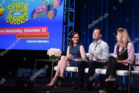 Lisa Henson, from left, John Tartaglia and Leslie Carrara-Rudolph participate in the 'Splash and Bubbles' panel during the PBS Television Critics Association summer press tour at the Beverly Hilton, in Beverly Hills, Calif