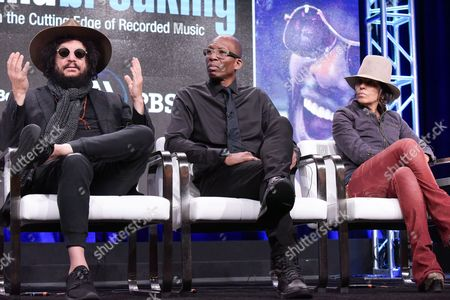 "Don Was, from left, Hank Shocklee, Linda Perry and Peter Asher participate in the ""Soundbreaking"" panel during the PBS Television Critics Association summer press tour, in Beverly Hills, Calif"