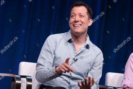 "John Tartaglia participates in the ""Splash and Bubbles"" panel at the PBS Winter TCA, in Beverly Hills, Calif"