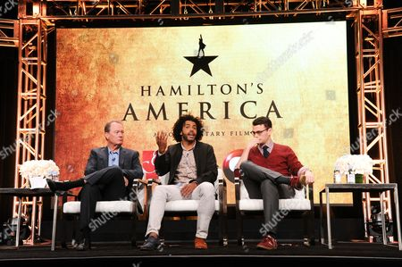"""David Horn, from left, Daveed Diggs and Alex Horwitz participate in the """"Hamilton's America"""" panel during the PBS Television Critics Association summer press tour, in Beverly Hills, Calif"""