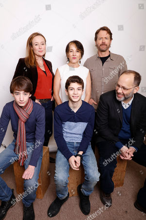 "Clockwise, from top left, Actresses Jennifer Ehle, and Paulina Garcia, actor Greg Kienner, director Ira Sachs, and actors Michael Barbieri, and Theo Taplitz pose for a portrait to promote the film, ""Little Men"", at the Toyota Mirai Music Lodge during the Sundance Film Festival on in Park City, Utah"