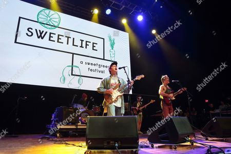 Mac DeMarco, left, and Andrew Charles White perform during the Sweetlife Festival at Merriweather Post Pavilion, in Columbia, Md