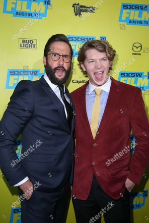 """Juston Street, left, and Tanner Kalina arrive at the premiere of """"Everybody Wants Some"""" at the Paramount Theatre during South By Southwest, in Austin, Texas"""