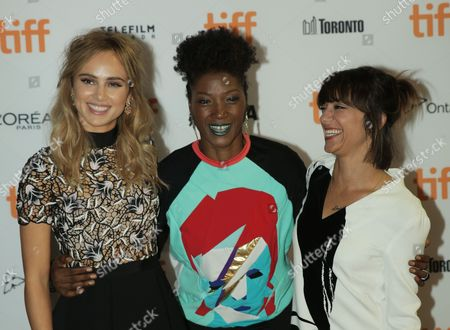 Suki Waterhouse, from left, Yolonda Ross and Ana Lily Amirpour attend The Bad Batch premiere on day 6 of the Toronto International Film Festival at the Ryerson Theatre, in Toronto