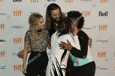 Suki Waterhouse, from left, Jason Momoa, Ana Lily Amirpour and Yolonda Ross attend The Bad Batch premiere on day 6 of the Toronto International Film Festival at the Ryerson Theatre, in Toronto