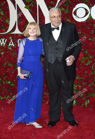 Stock Picture of Cecilia Hart, left, and James Earl Jones arrive at the Tony Awards at the Beacon Theatre, in New York