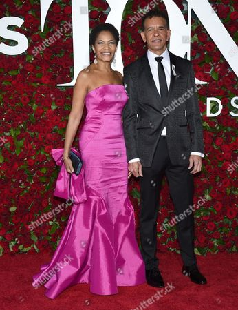 Allyson Tucker, left, and Brian Stokes Mitchell arrive at the Tony Awards at the Beacon Theatre, in New York