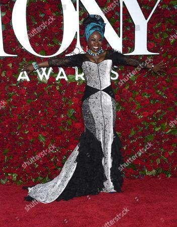 Akosua Busia arrives at the Tony Awards at the Beacon Theatre, in New York